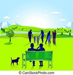 senior, familj, medborgare