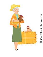 Senior farmer holding chicken and basket of eggs.
