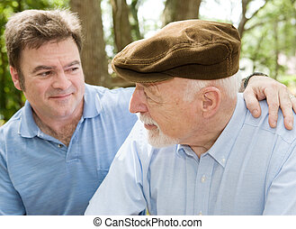Senior Father - Senior father with his middle aged son. ...