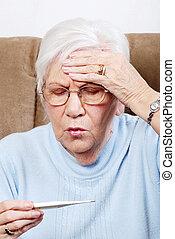 senior, feber, närbild, sjuk