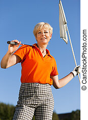 Senior female Golf player