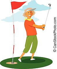 Senior female golfer - Woman over 60s doing a golf swing, ...