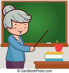 Senior female teacher on blackboard