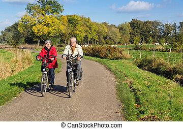 senior, fiets, paar