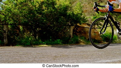 senior, fietser, cycling, straat, 4k