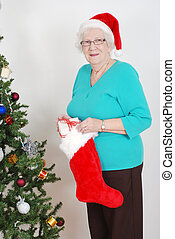 Senior filling christmas sock