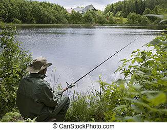 senior fishing off a shoreline
