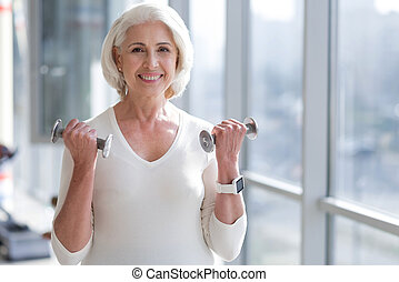 senior fit woman working out.