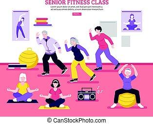 Senior Fitness Class Flat Poster
