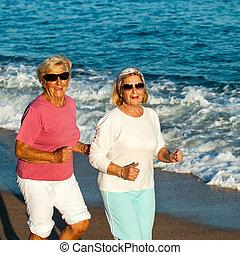 Senior fitness girls jogging.