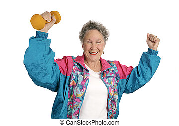 A senior lady excited over meeting her fitness goals. Isolated on white.