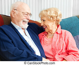 Senior Flirtation - Senior couple in love, flirting on the...