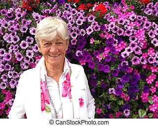 Senior flower lady