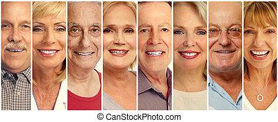 senior, folk ansigt, samling