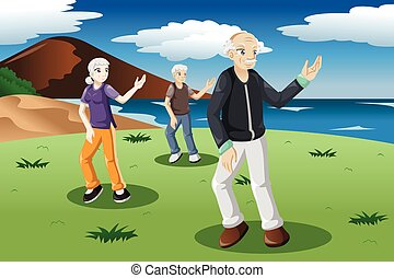 senior, folk, exercising, tai-chi, udendørs