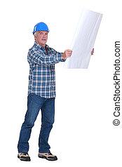 Senior foreman with schematics