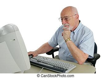 senior., forskning, online