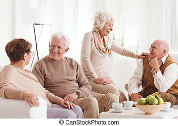 Senior friends at home