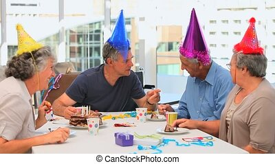 Senior friends on Birthday