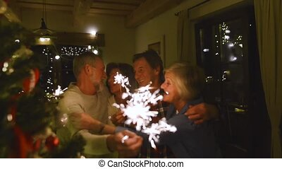Senior friends with sparklers next to Christmas tree having fun.