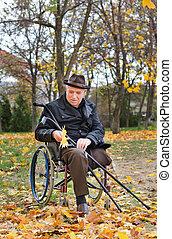senior, gehandicapt, man binnen de rolstoel