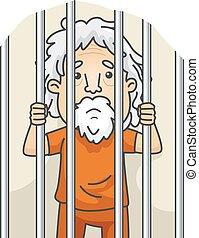 senior, gevangenis, man