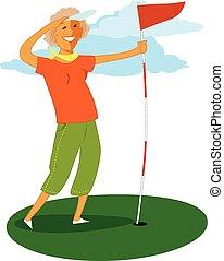 Senior golf - Mature woman holding a golf flag