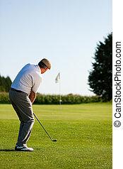 Senior golf player in summer