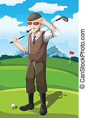 Senior golfer - A vector illustration of a senior golfer