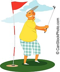 Senior golfer - Man over 60 playing golf, vector cartoon, no...