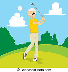 Senior Golfer - Senior golfer man hitting golf ball on...
