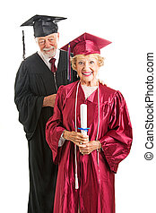 Senior Graduate and Professor Isolated