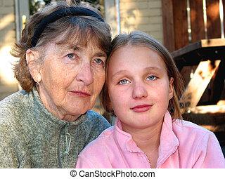 senior, granddaughter, hende, kvinde