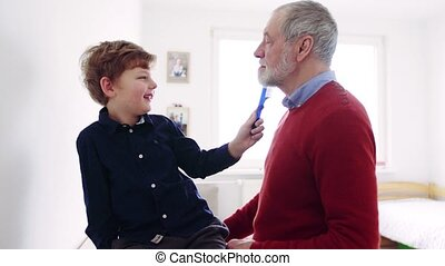 Senior grandfather with a small grandson at home combing...