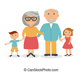 Senior grandparents with their grandchilds. People family ...
