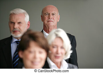 senior, groep, zakenlui
