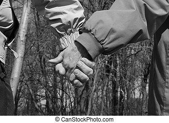 Senior hand hold