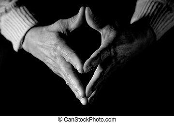 senior, handen