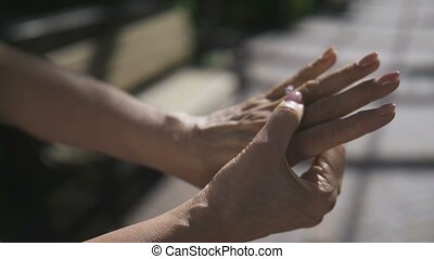 Senior hands during engagement with diamond ring - Close-up...