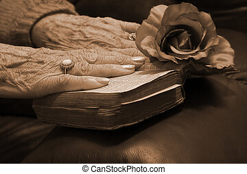 Senior hands on a bible