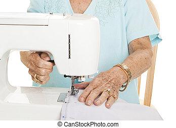 Senior hands - Sewing