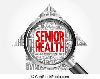 Senior health arrow word cloud