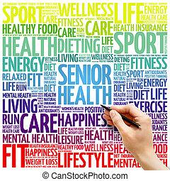 Senior health word cloud background