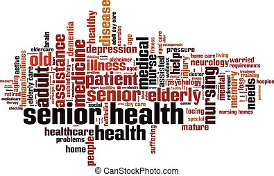 Senior health word cloud concept. Vector illustration