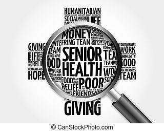 Senior health word cloud with magnifying glass, cross...