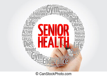 Senior health word cloud with marker