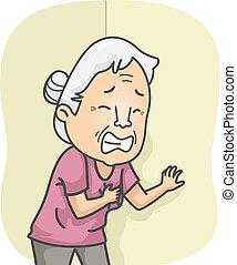 Senior Heart Attack - Illustration Featuring an Elderly...