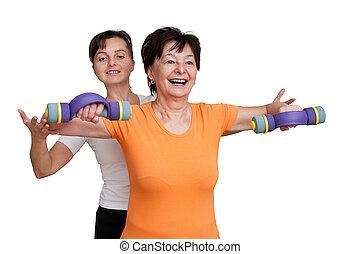 senior, helpen, trainer, het uitoefenen, vrouw