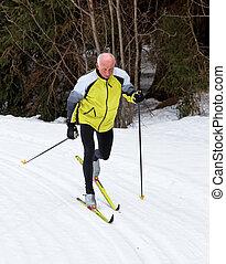 senior, het dwarsland skiën, gedurende, de, winter