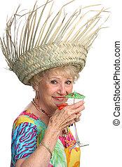 senior, het genieten van, dame, cocktail